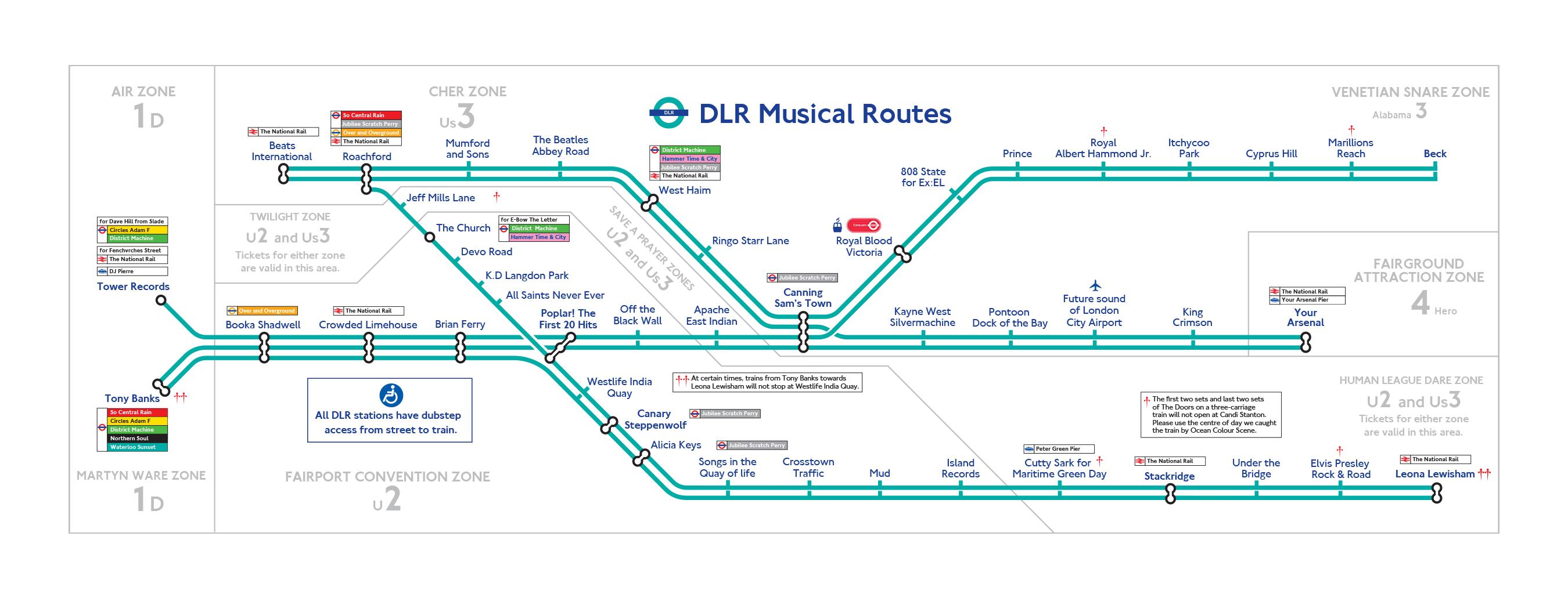 DLR Musical London Underground Map - London dlr map
